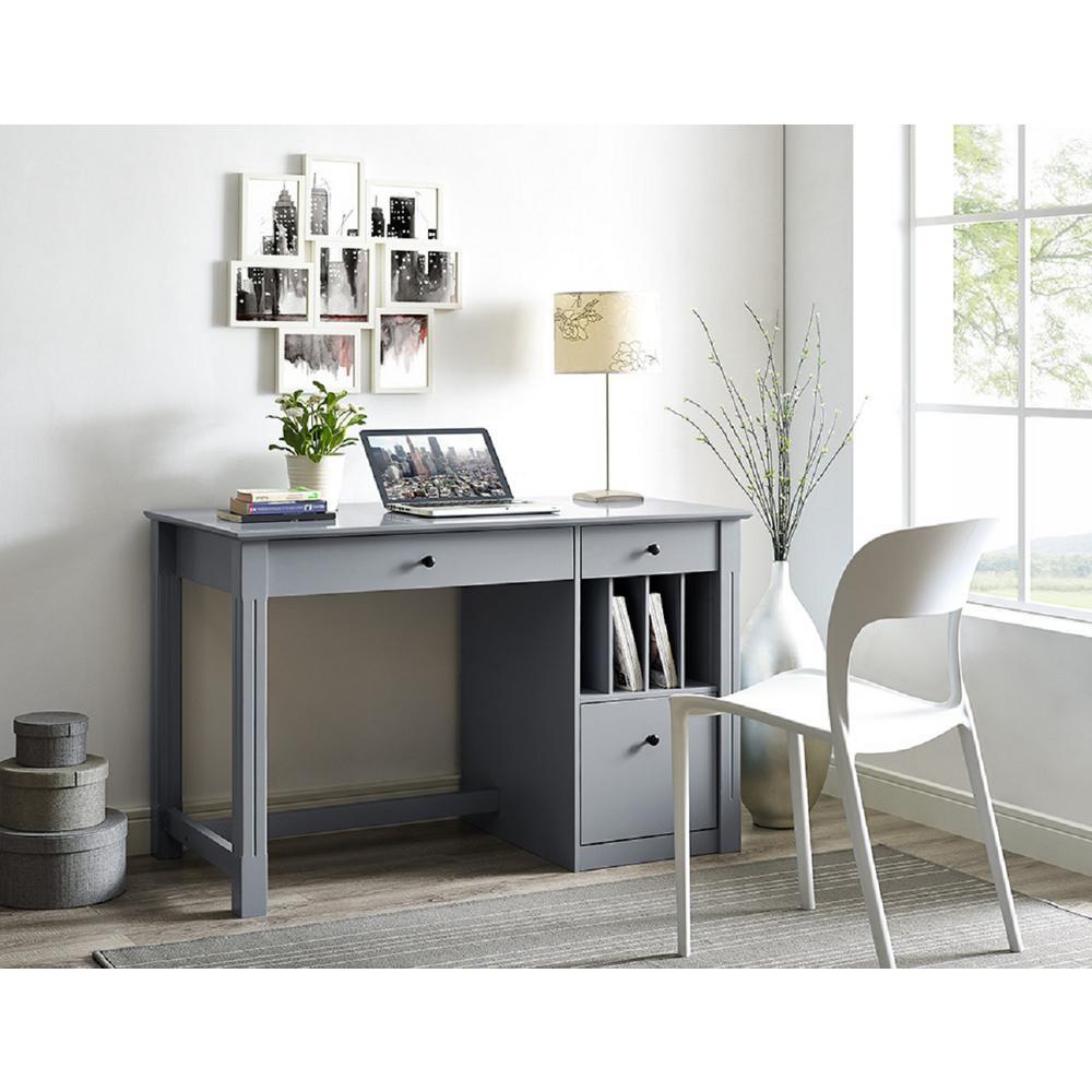 Walker Edison Furniture Company Home Office Deluxe Grey Wood Storage  Computer Desk