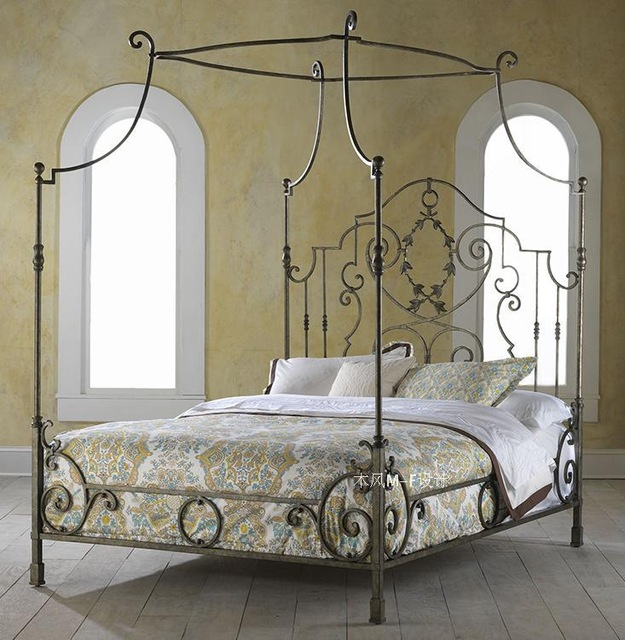 French wrought iron bed Manning bed frame bed mantle iron bed wrought iron  bed M-8 free shipping