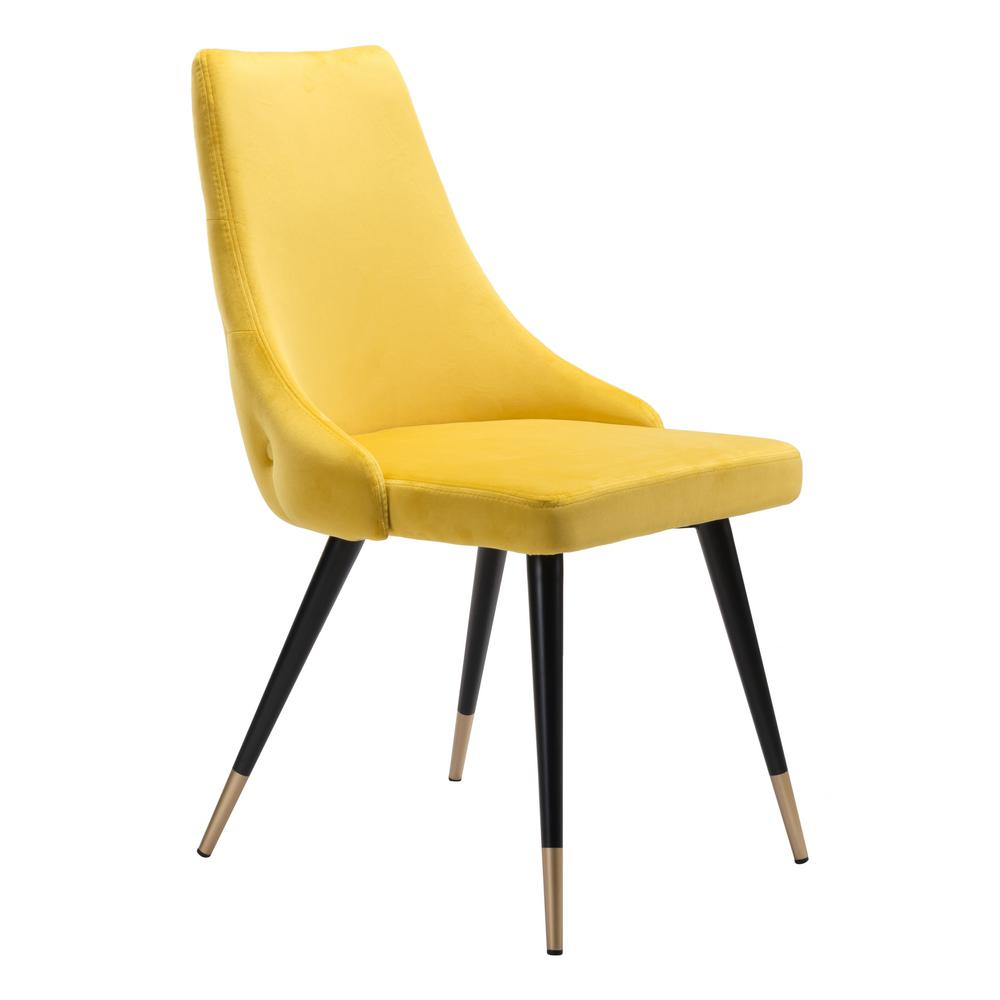 ZUO Piccolo Yellow Velvet Dining Chair (Set of 2)