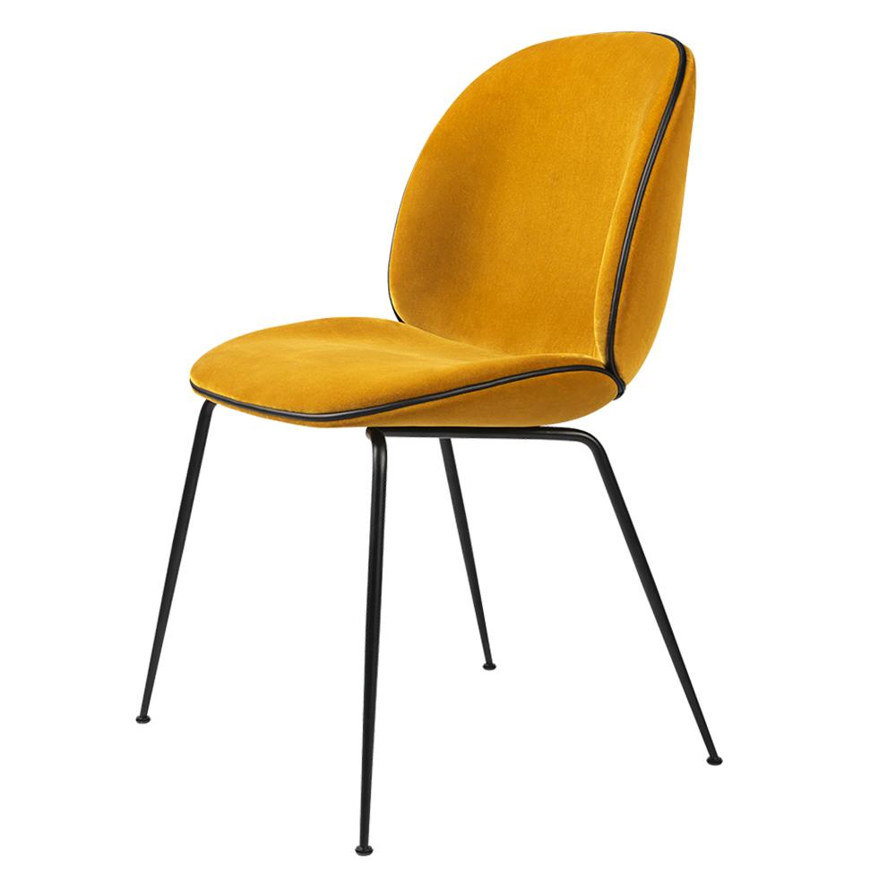 Beetle Upholstered Dining Chair - Yellow Velvet, Black Leather Piping,  Black Legs