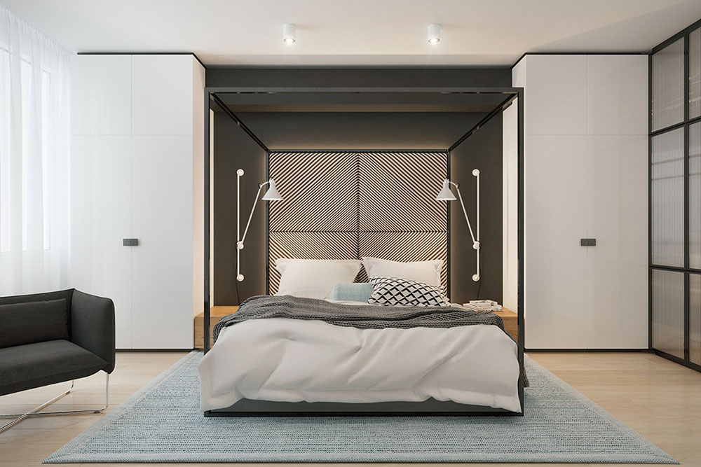Black metal four-poster bed Innovative interior for great living ideas