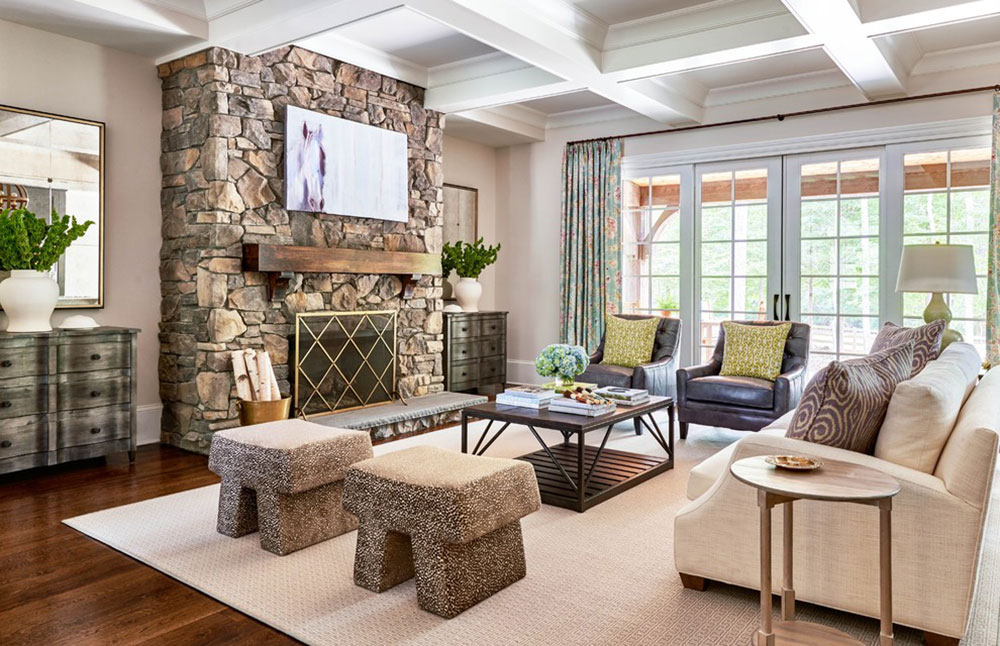 Greener-Pastures-by-Home-Design-Decor-Magazine A living room with a fireplace and instructions for decorating