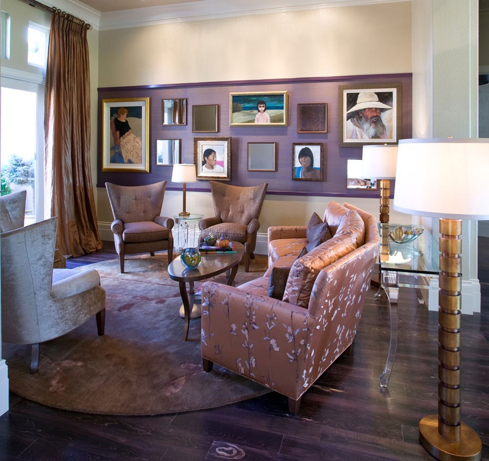 Hollywood-Regency-Living Room-by-Peg-Berens-Interior-Design-LLC The color of lavender and the colors that go with lavender