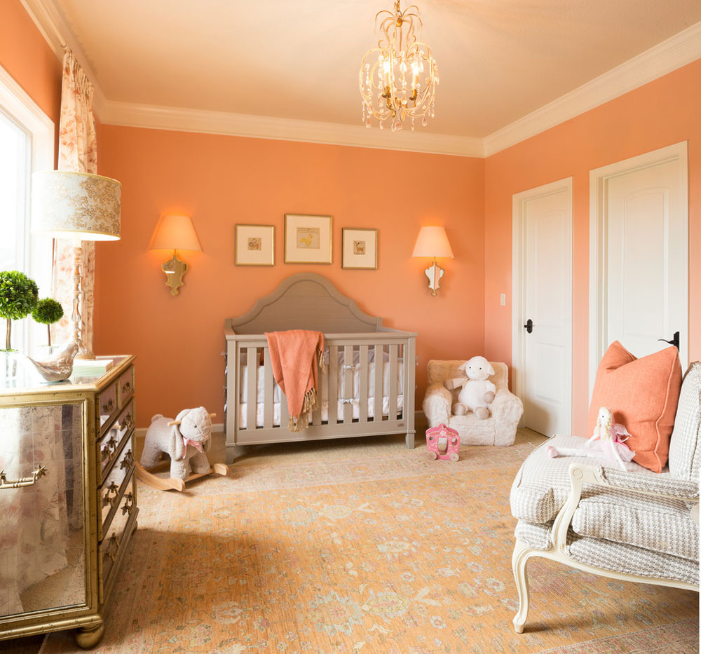 Nursery-by-McCroskey-Interiors Use the peach color to decorate amazing interiors