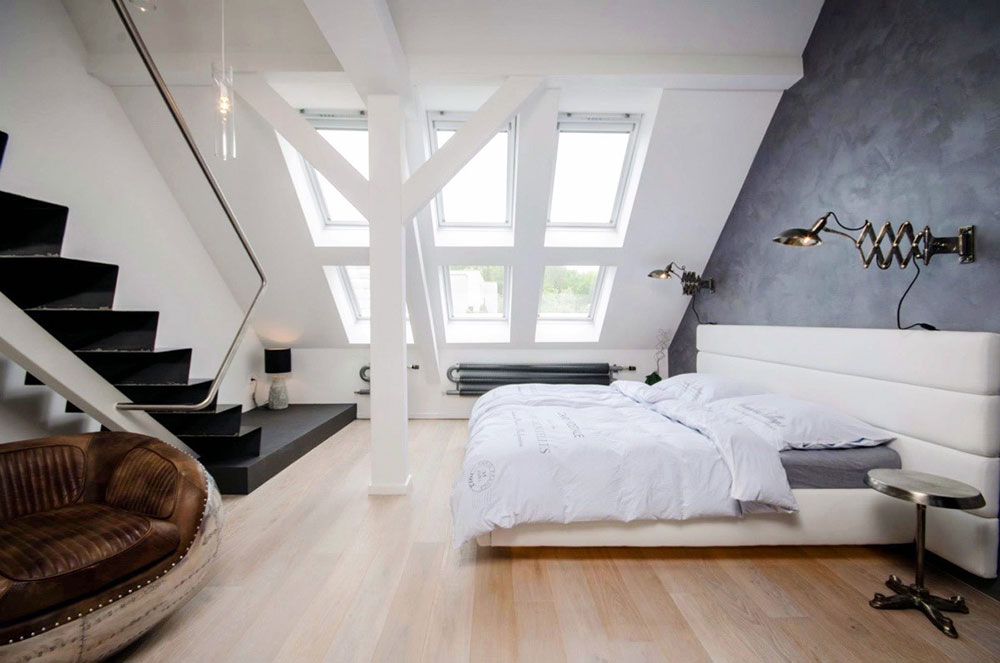 Black-Stair-Loft-Bedroom-White-Headboard-Brown-Chair Real Estate Selling: 6 Tips to Increase the Value of Your Property