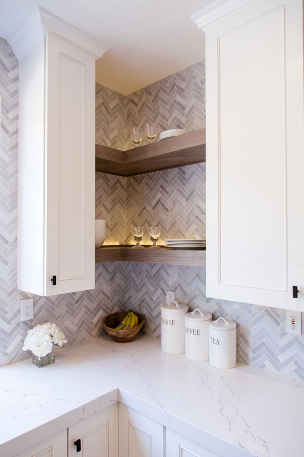 Tustin-Kitchen-by-Vision-Interiors Use corner shelves to make the most of your kitchen space