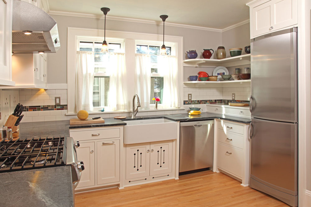 100 square foot kitchen remodeling by David Heide Design Studio Use corner shelves to get the most out of your kitchen space