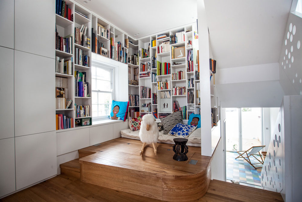 Islington-Reading-Space-by-Shade-Abdul-Architecture Use corner shelves to make the most of your kitchen space