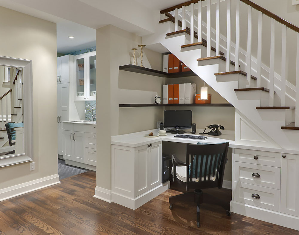 Basement-Desk-Under-the-Stairs-by-Leslie-Goodwin-Photography Use corner shelves to make the most of your kitchen space