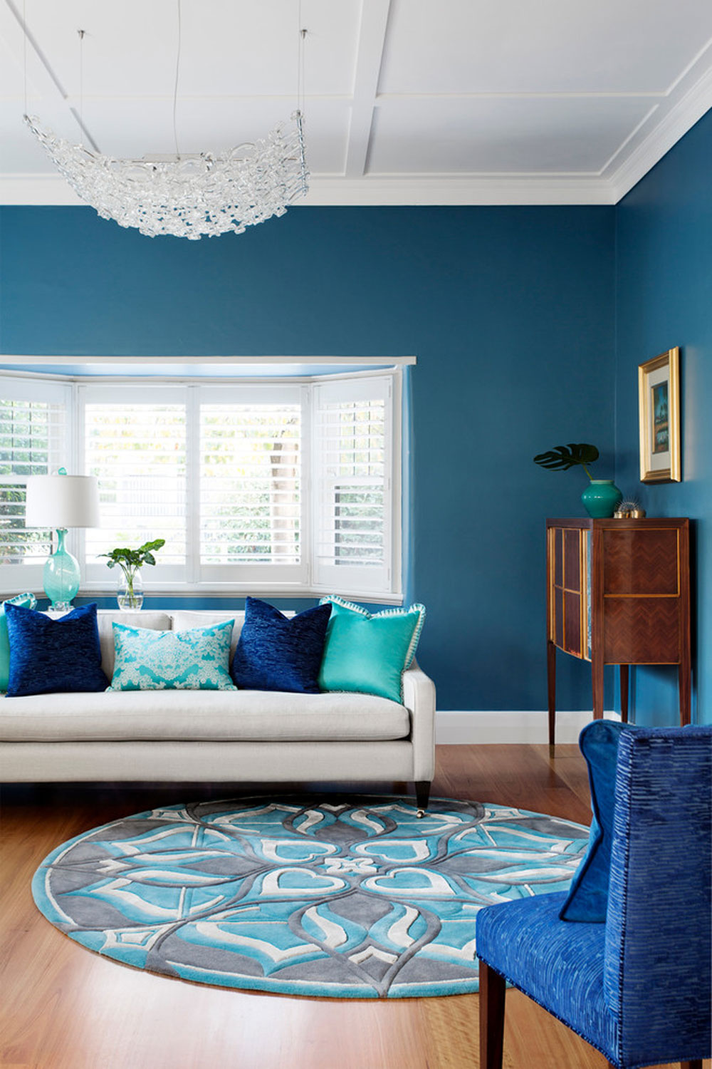 Blues-in-Kew-living-room-by-Camilla-Molders-Design The aqua color: How to decorate your house interior with it