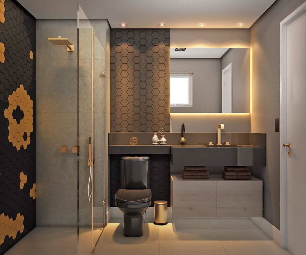 Gray-Gold-Black-Modern-Bathroom-Design How to choose the right toilet for your home