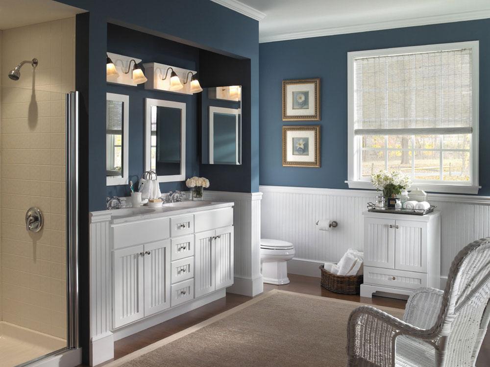 Farmhouse-Bathroom-Cabinet-by-Designhouse-Kitchen-and-Bath-LLC Blue bathroom ideas.  Design, decor and accessories