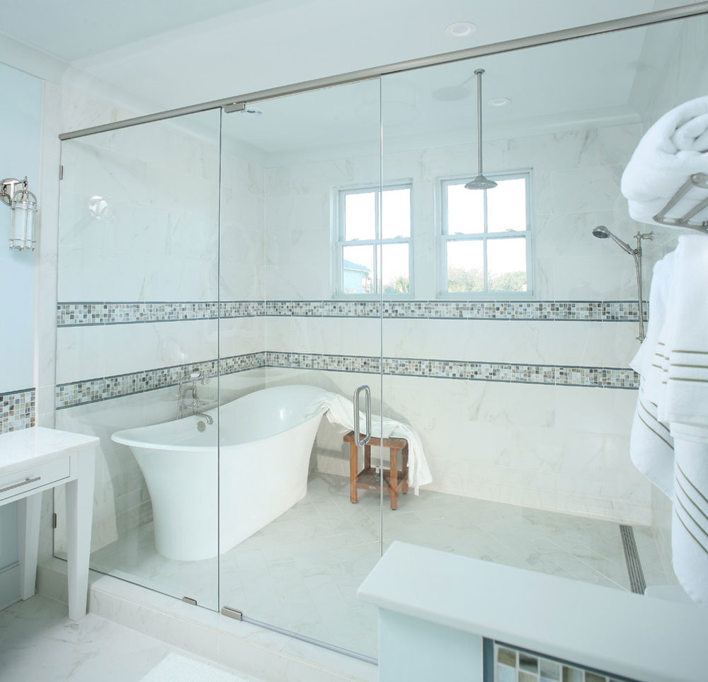 Isle of Palms Beach House by Spivey Architects Inc.  Shower niche ideas and best practices for your bathroom