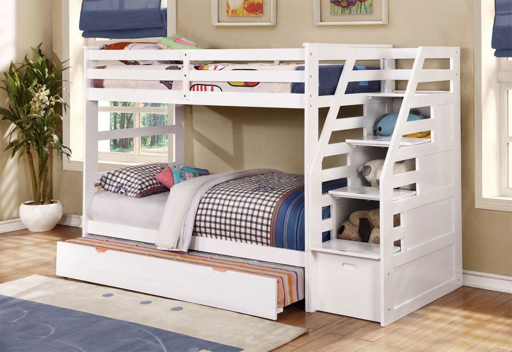 white bunk bed with built-in stairs and extra pull-out 20 low bunk beds ideas for low ceiling rooms