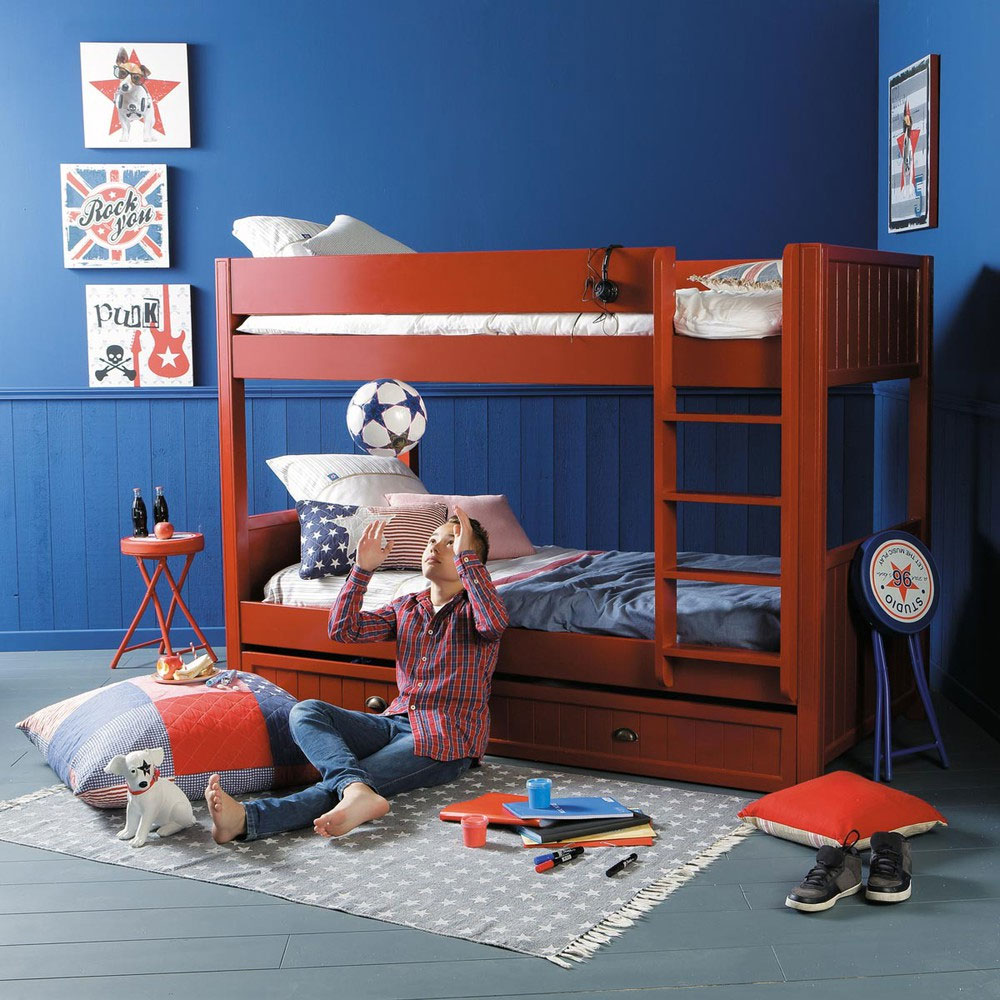red wood bunk bed 20 low bunk beds ideas for low ceiling rooms