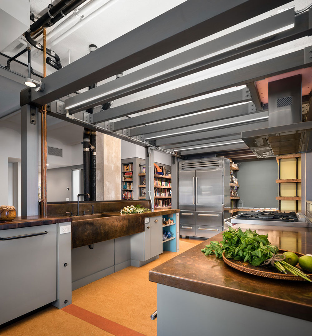 Chelsea-Loft-New-York-NY-by-TOLA-Architektur Ideas for industrial kitchens: cabinets, shelves, chairs and lighting