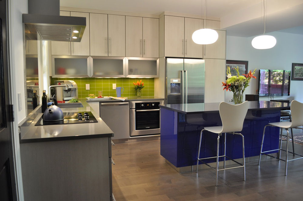 Colorful-Condo-by-Red-Pepper-Design-Cabinetry Metal kitchen cabinets: stainless steel furniture for your kitchen