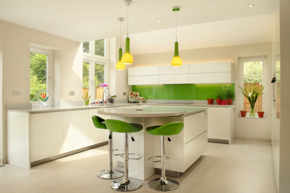 Contemporary-white-kitchen-with-a-splash-green-by-design-A-Space-kitchen-bedroom-interior Green kitchen: ideas, decor, curtains and accessories