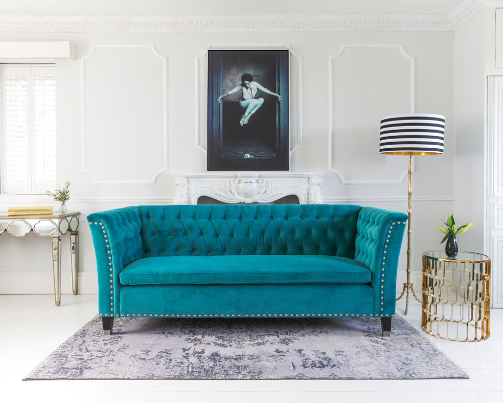 Nightingale-Teal-Blue-Velvet-Sofa-by-The-French-Bedroom-Company Teal color: colors that go well with teal in the interior