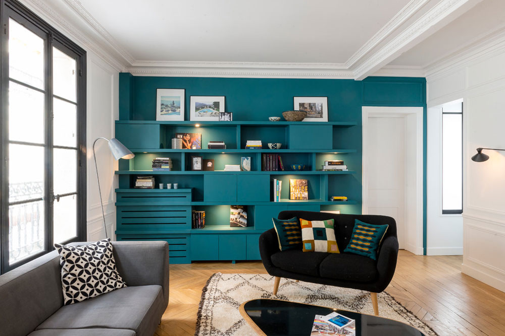 Apartment-96m2-Paris-17-by-AD-Vanessa-Faivre Blue-green color: Colors that go well with blue-green in the interior