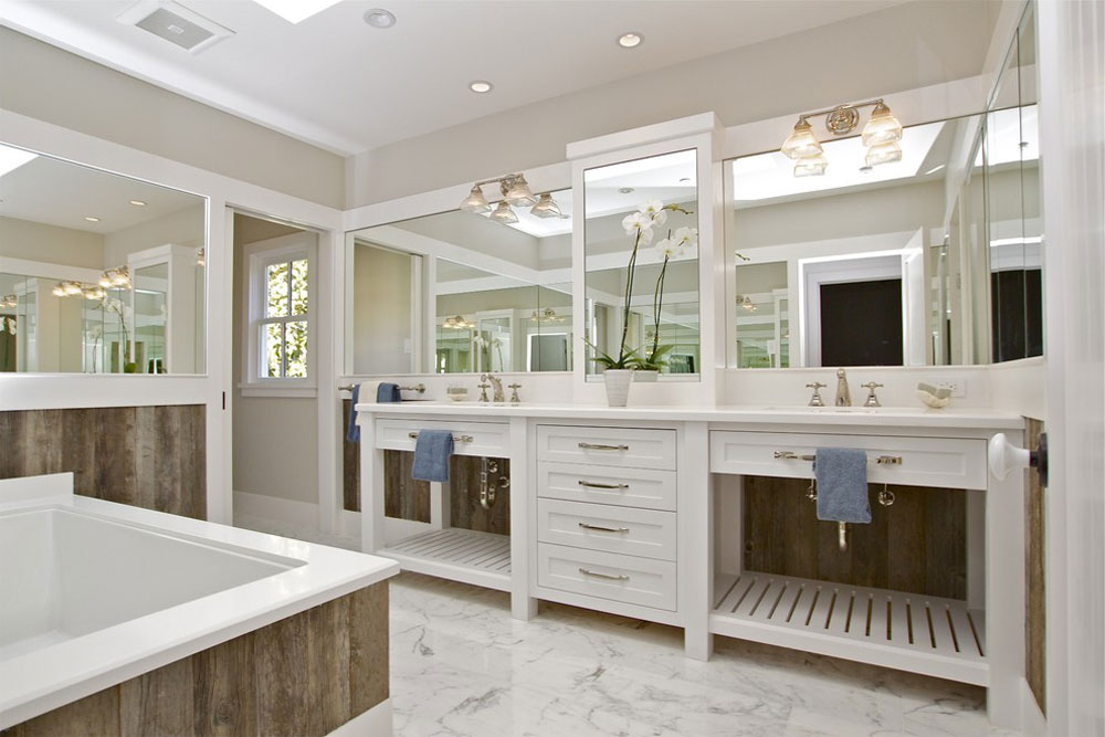 Contemporary farmhouse from KCS-Inc.  Bathroom in the farmhouse: decor, ideas, lighting and style