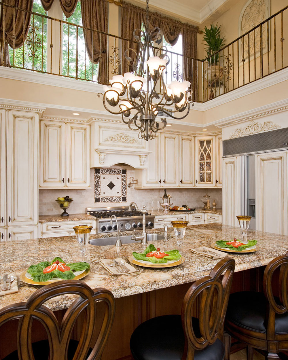 2-story-kitchen-remodeling-by-renaissance-kitchen-and-house- French country kitchen: decor, cabinets, ideas and curtains