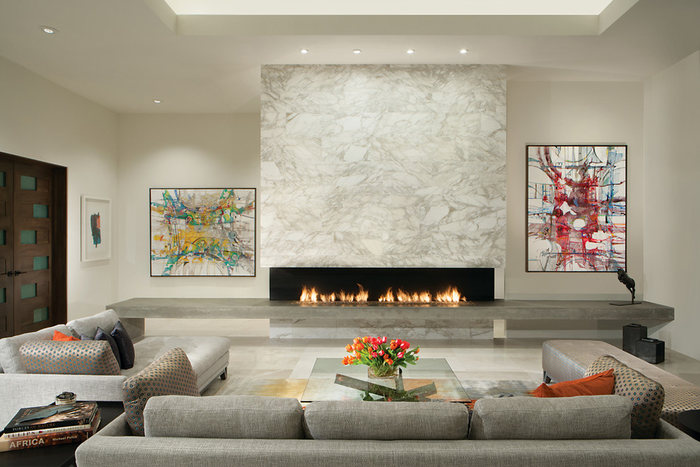 Luxurious-contemporary-of-Janet-Brooks-design-fireplace stove: decor, stone and cover