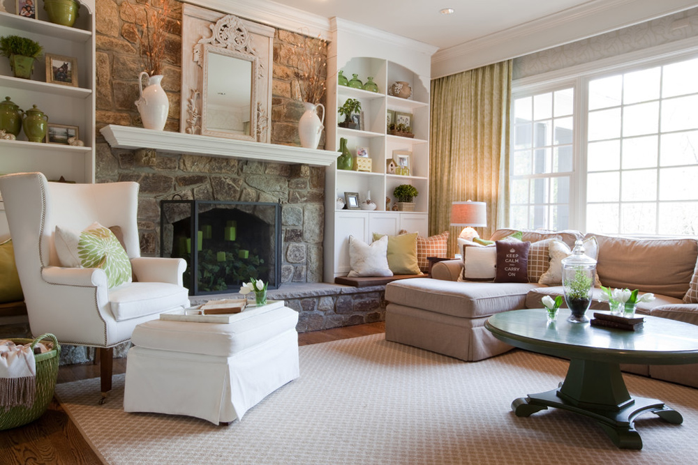 Family-Room-by-Emerald-Hill-Interiors fireplace stove: decor, stone and cover