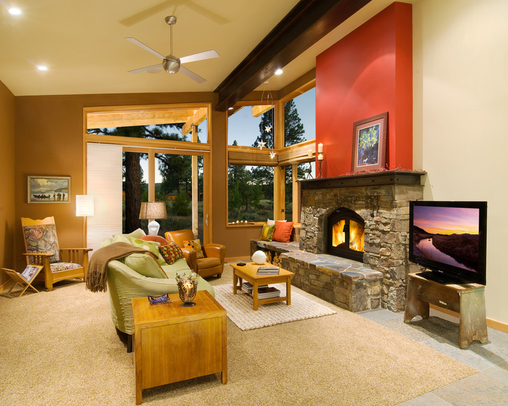 Great-Room-by-Ward-Young-Architecture-Planning-Truckee-CA Fireplace hearth: decor, stone and cover
