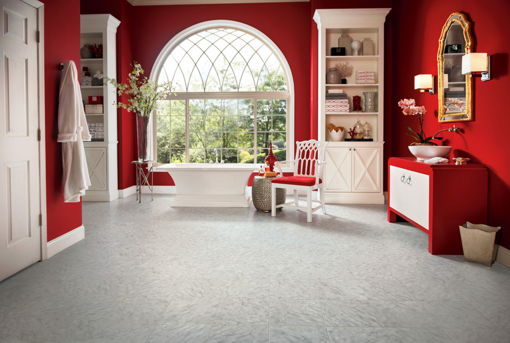 Armstrong-Engineered-Stone-by-Gales-Carpet-One-Floor-and-Home Red Bathroom Ideas: Rugs, Accessories, and Decor