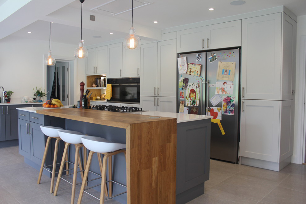 1920s-real estate-renovation-Hertfordshire-by-Studio-3-kitchens breakfast bar: table, stool and design ideas