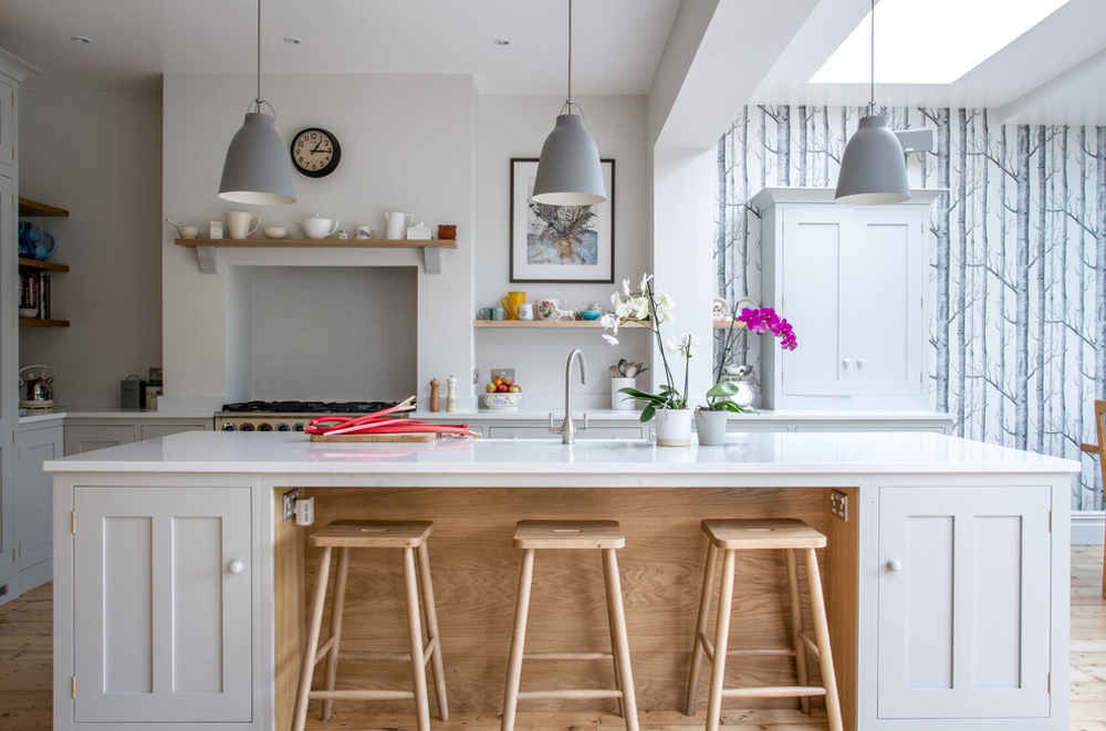 A-Scandinavian-Woodland-Inspired-Kitchen-by-Sustainable-Kitchens breakfast bar: table, stool and design ideas