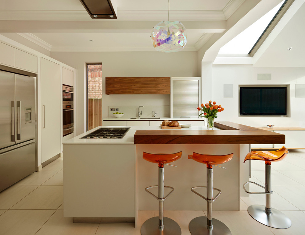 Kitchen-cupboard-by-Roundhouse-breakfast bar: table, stool and design ideas