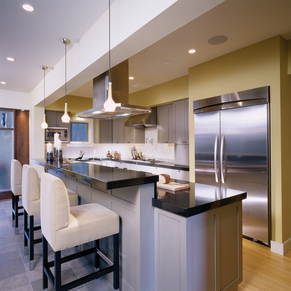 House-in-the-Woods-kitchen-by-Wyant-Architektur breakfast bar: table, stool and design ideas