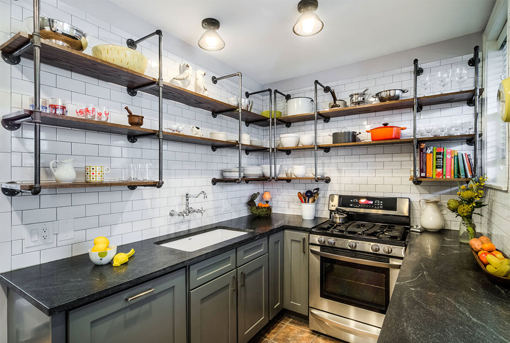 Vintage-Galley-by-PowerSmith-Design Kitchen Shelves: Ideas for Floating, Pull-Out, and Wall-Mounted Shelves