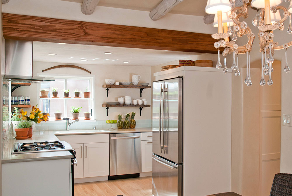 Southwestern-Contemporary-Cottage-in-Historic-Santa-Fe-by-Samuel-Design-Group Kitchen Shelves: Ideas for Floating, Pull-Out, Wall-Mounted Shelves