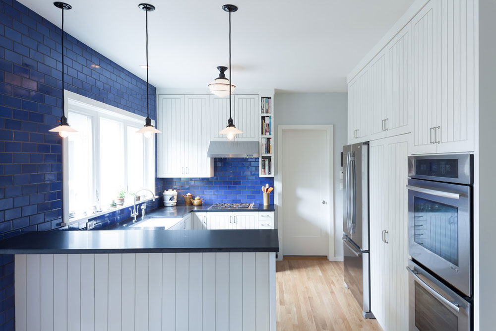 Alameda-Kitchen-Remodel-by-Howells-Architektur-Design-LLC Blue kitchen ideas: cabinets, walls and counters