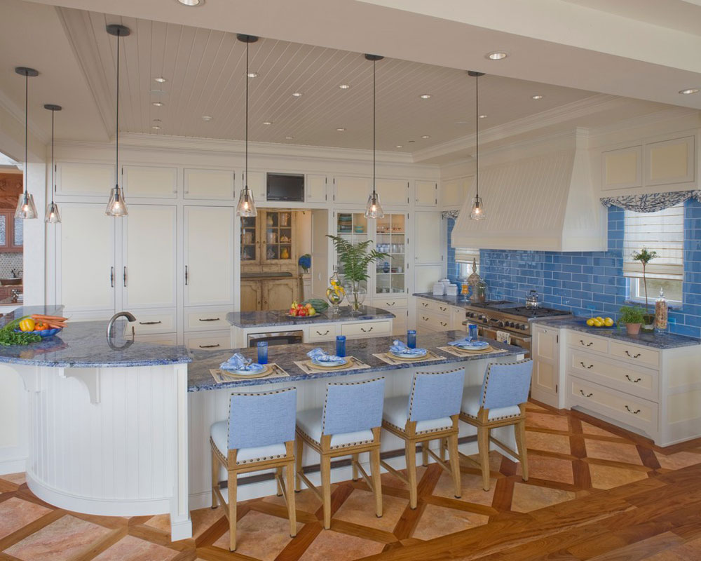 Waterfront-Retreat-by-Bruce-Palmer-Interior-Design Blue kitchen ideas: cupboards, walls and counters