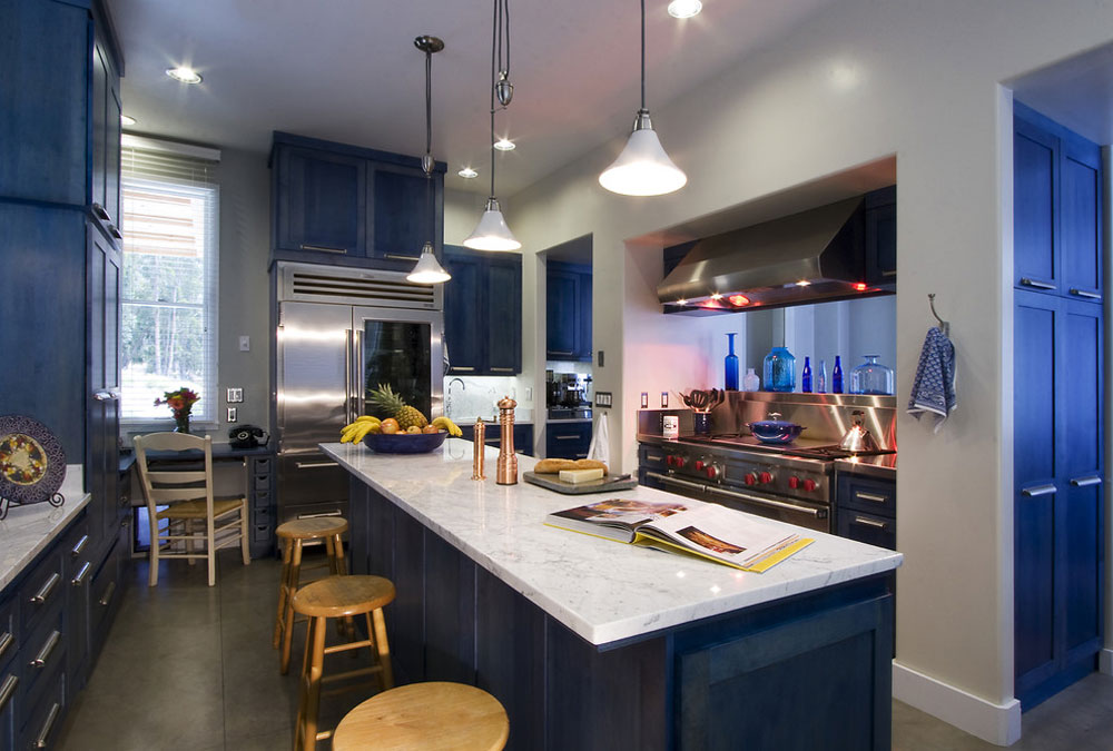 Mesa-View-Residence-Arroyo-by-Leonard-Grant-Architektur Blue kitchen ideas: cupboards, walls and counters