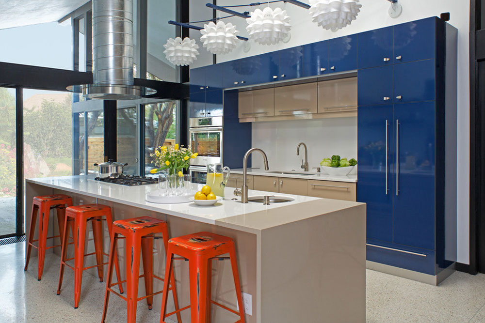 Its-a-Mod-Mod-World-by-Kabi-Kitchen and Bathroom Cabinets Blue kitchen ideas: cabinets, walls and counters