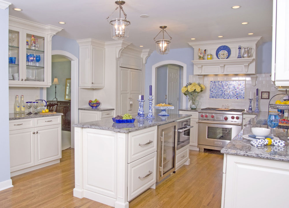 White-Modern-Classic-Kitchen-by-Angie-Keyes-CKD Blue kitchen ideas: cupboards, walls and counters