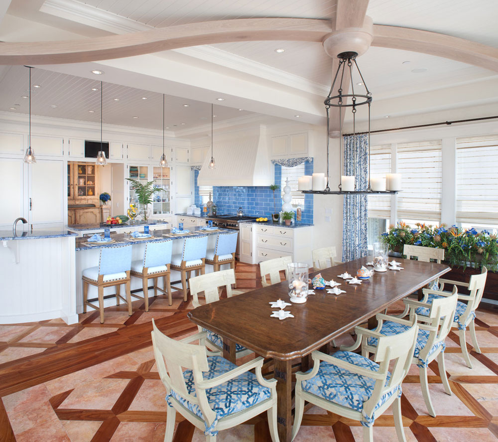 Waterfront-Retreat-by-Bruce-Palmer-Coastal-Design Blue kitchen ideas: cabinets, walls and counters