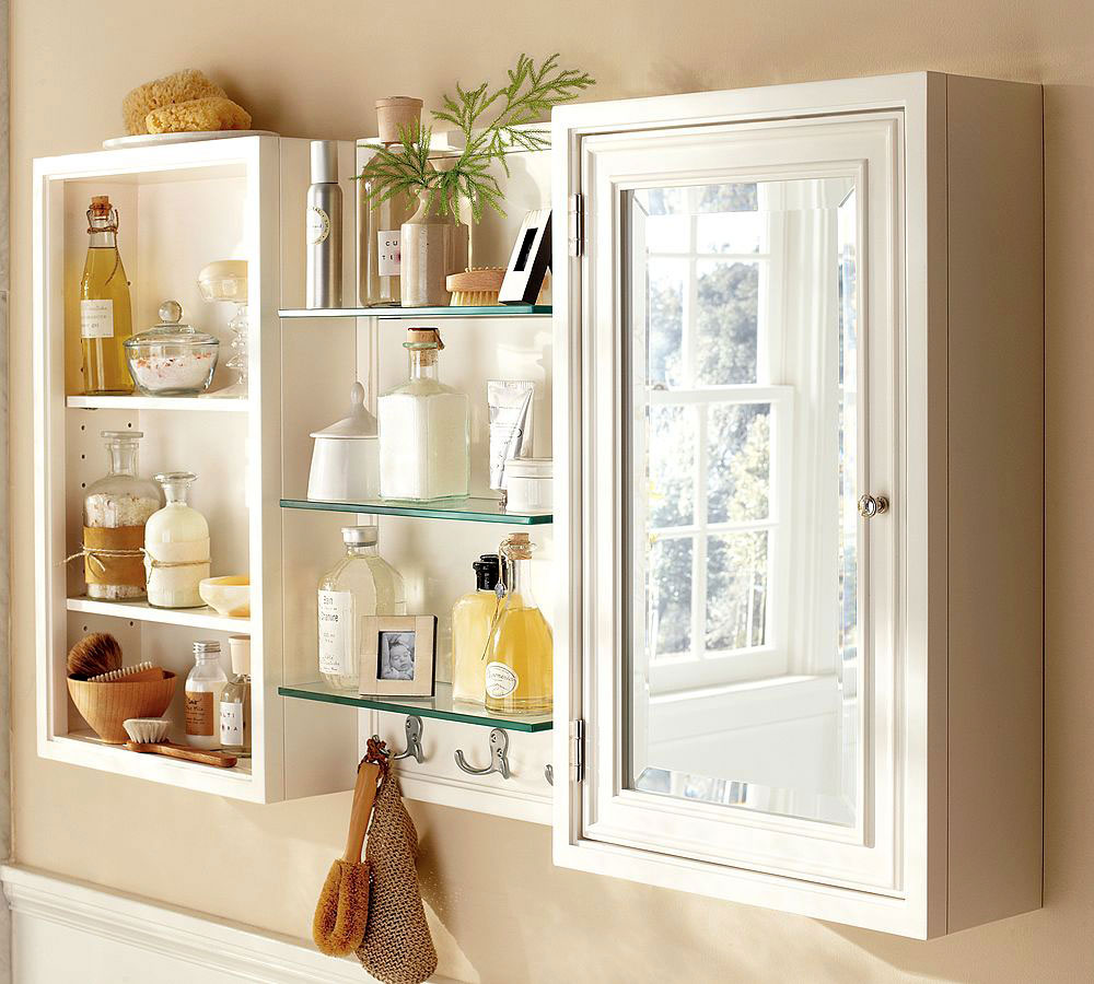 slim-bathroom-medicine-cabinet-with-glass-shelves-also-mirror-doors 6 Beautiful glass products for modern interior decoration
