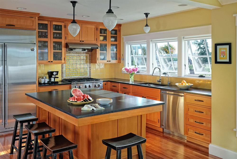 North-Beach-Residence-by-Patricia-Brennan-Architects Yellow kitchen: decorative carpets, accessories and ideas