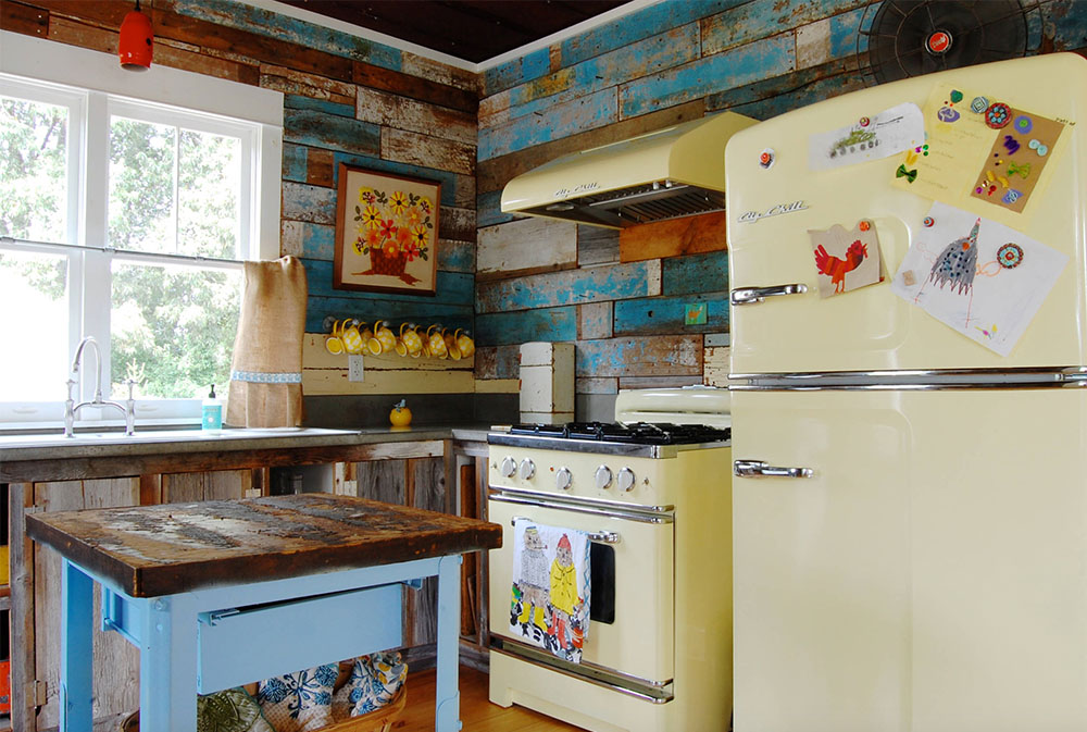 Colorful-vintage-finds-fill-a-chic-modern-farmhouse-by-Corynne-Pless Yellow kitchen: decor, carpets, accessories and ideas