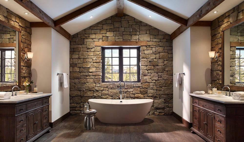 Rustic-stone-wall-bathroom-by-Eldorado-stone Rustic bathroom design: ideas, vanities, decor and lighting