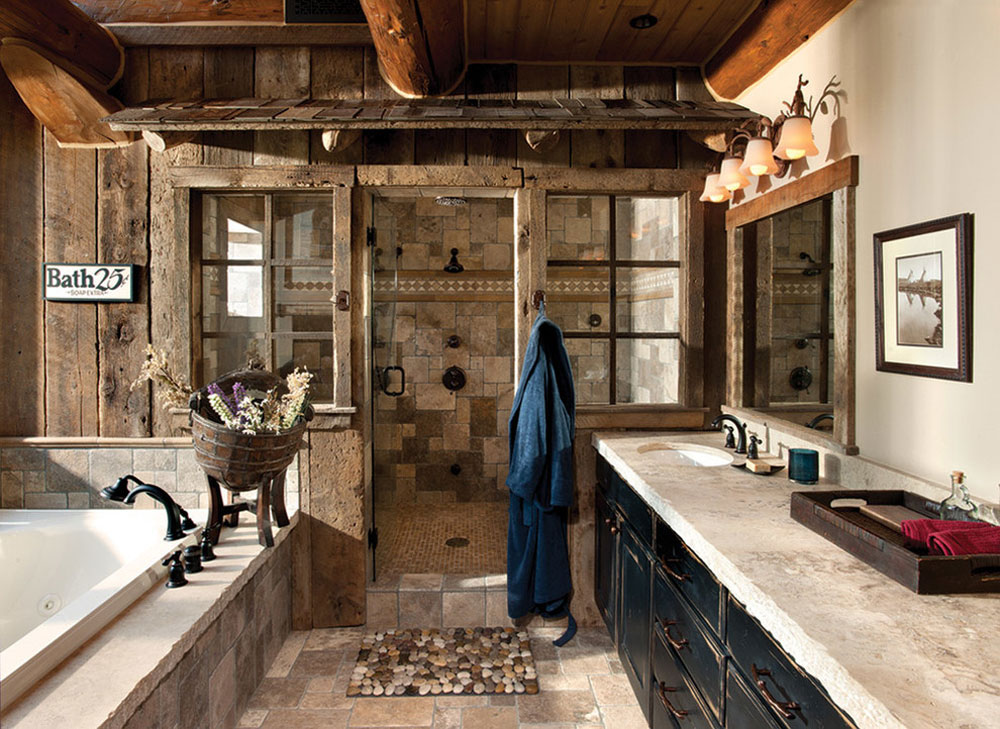 Handcrafted-Log-Home-by-MTN-Design Rustic bathroom design: ideas, vanities, decor and lighting