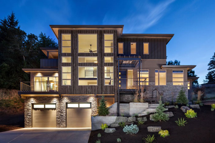 82285482486 House with natural stone and wood exterior and a high-end interior