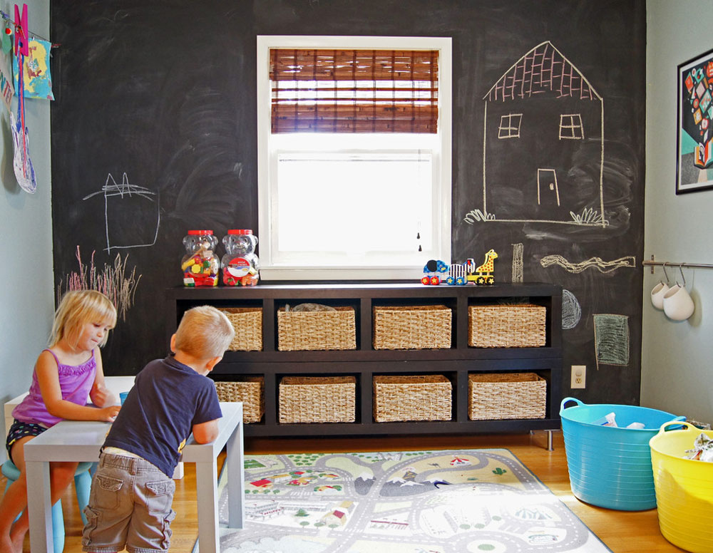 Eden-Prairie-Home-by-Wind-and-Willow-Home toy storage ideas to keep the space tidy and organized