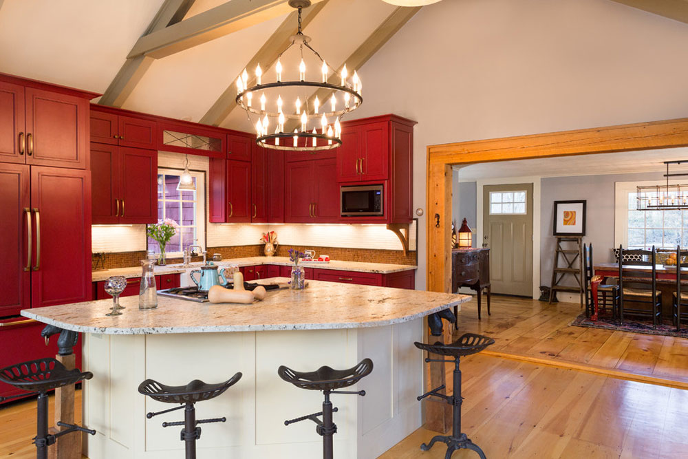 Farmhouse-Fabulous-Bow-NH-of-New-England-Design-Elements Red kitchen design: ideas, walls and decor